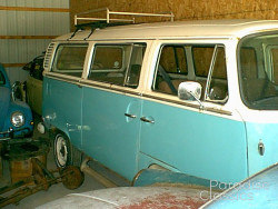 Blue/White 1972 Volkswagen Bus