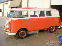 Red/White 1961 Volkswagen Bus