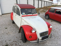 White with Red 1986 Citroen 2CV